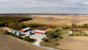 Aerial view of a farm