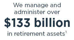 We manage and administer over 133 billion in retirement assets