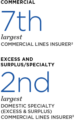 Commercial: 7th largest commercial lines insurer; 2nd largest domestic specialty (excess & surplus) commercial lines insurer