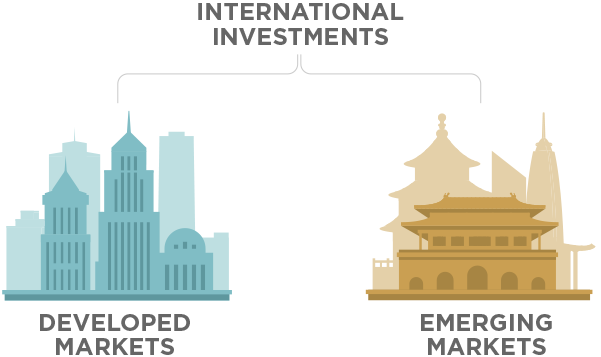 International investments are generally separated into two main categories: developed and emerging markets.